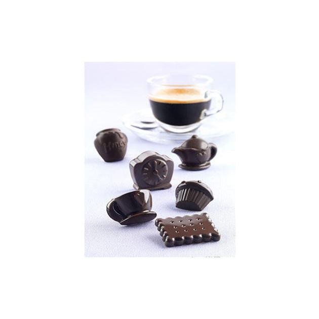 Chocolats pour le the ou le cafe realises avec le moule a chocolat en silicone Tea Time