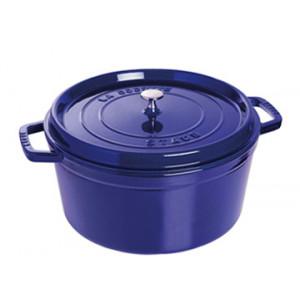 STAUB Cocotte Fonte Ronde 24 cm Bleu Intense Majolique 3,8 L