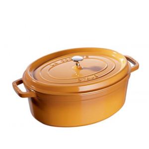 FIN DE SERIE STAUB Cocotte Fonte Ovale 31 cm Jaune Moutarde 5,5 L