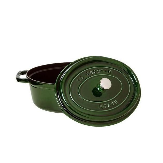 Cocotte Ovale 33 cm en fonte 6.7 l Vert Basilic