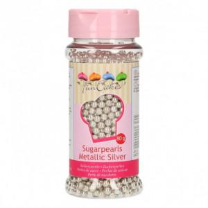 Perles de Sucre Argent Métallique 80g Funcakes
