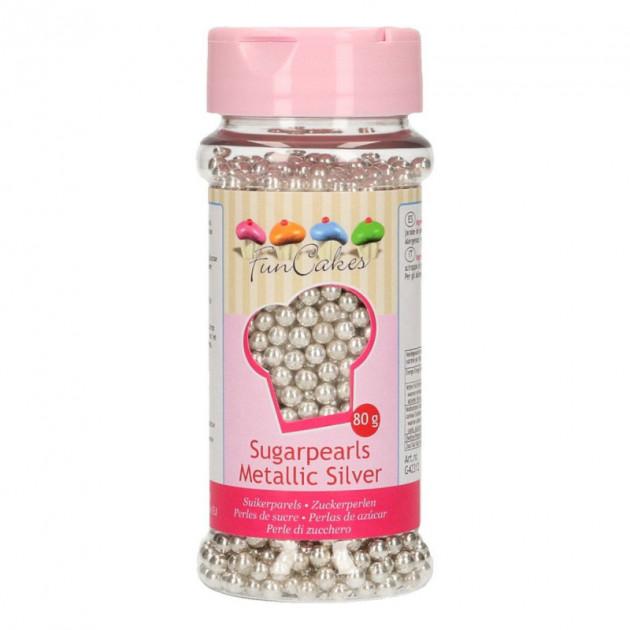 Perles de Sucre Argent Metallique 80g Funcakes