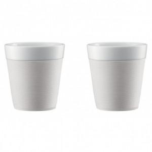 Mug Double Paroi 17cl Porcelaine et Silicone Crème Bodum (x2)