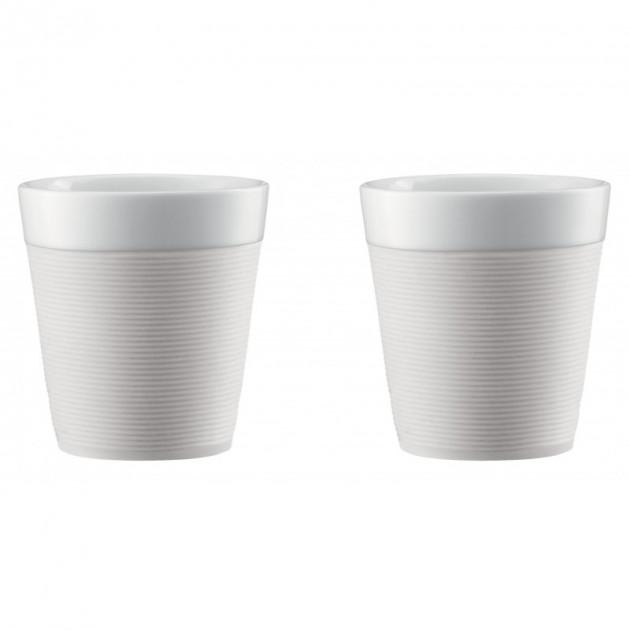 Mug Double Paroi 17cl Porcelaine et Silicone Creme Bodum (x2)