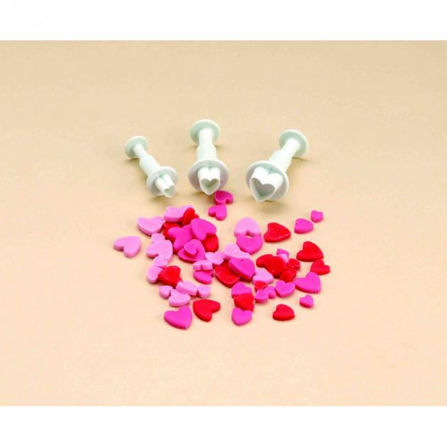 3 Emporte-Pieces Coeurs avec Poussoir