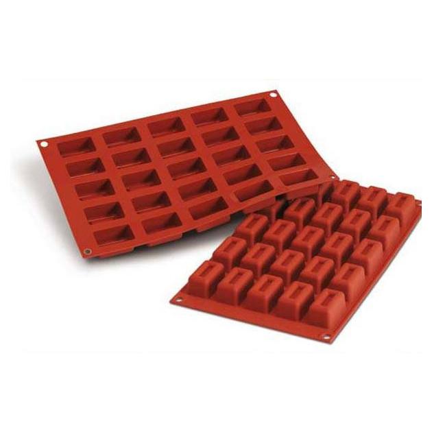 Moule Silicone 25 Savarins Rectangles 4.3 x 2.6 cm Silikomart