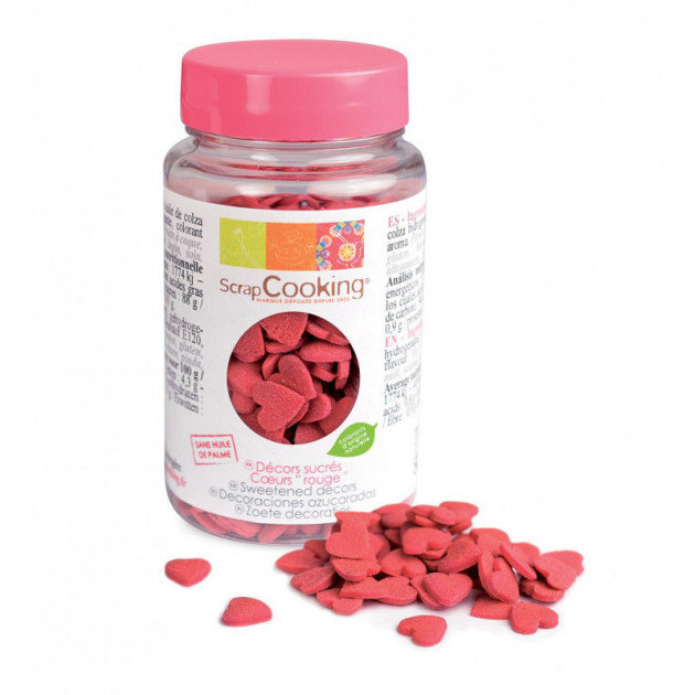 Pot de decors en sucre - Coeurs rouges 55g Scrapcooking