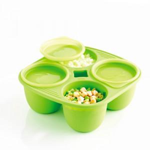 Pots bébé en silicone Babymoule® 4 portions 280ml Vert
