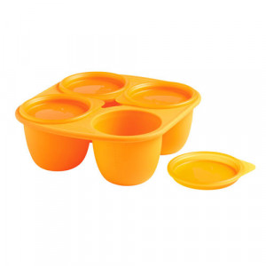 Pots bébé en silicone Babymoule® 4 portions 280ml Orange