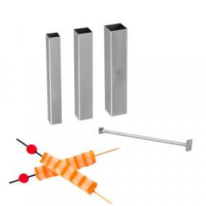 Set Design culinaire, 3 tubes découpoirs carrés + poussoirs