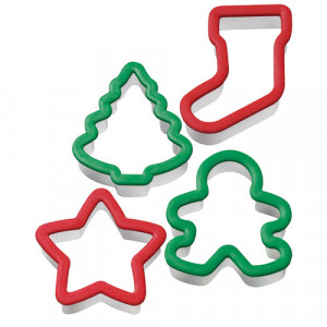 Emporte-pièces sapin, étoile, bonhomme et chaussette Wilton (4 pièces)