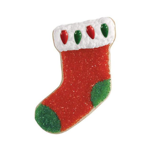 Biscuit de Noel fait avec le decoupoir chaussette Wilton