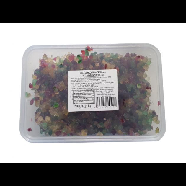 Cubes de melon confit tricolores