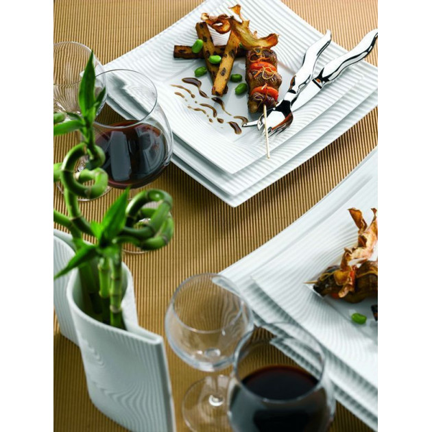 Assiette coupe rectangulaire Nara en Porcelaine 15 x 30 cm (x6)