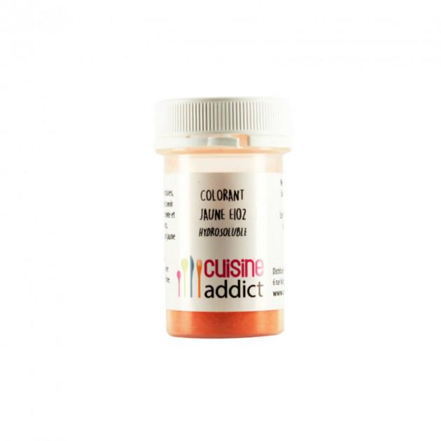 Colorant alimentaire Jaune E102 10g Poudre Hydrosoluble Cuisineaddict