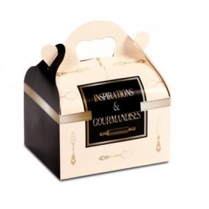 Boîte pâtissière avec poignées Inspirations -10 x 18 x H 7 cm - (x50)