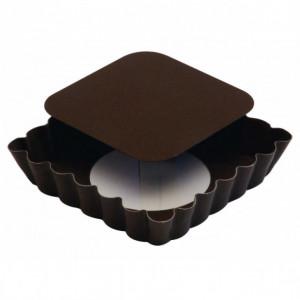Tartelette carrée cannelée fond mobile