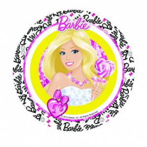 FIN DE SERIE Disque Azyme Barbie 21 cm 'sucette coeur'