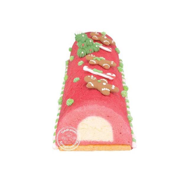 Bûche framboise insert chocolat blanc realise avec le moule a bûche et insert Scrapcooking