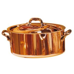 Cocotte ovale + couvercle Cuivre intérieur Inox D 24 cm