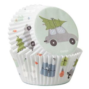 Caissette à Cupcake Voiture et Sapin de Noël Ø 5 cm (x75) Wilton