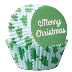 Caissette à Cupcake Sapins Merry Christmas Ø 5 cm (x75) Wilton