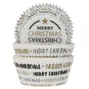 Caissette à Cupcake Merry Christmas Noir et Doré Ø 5 cm (x50) House of Marie