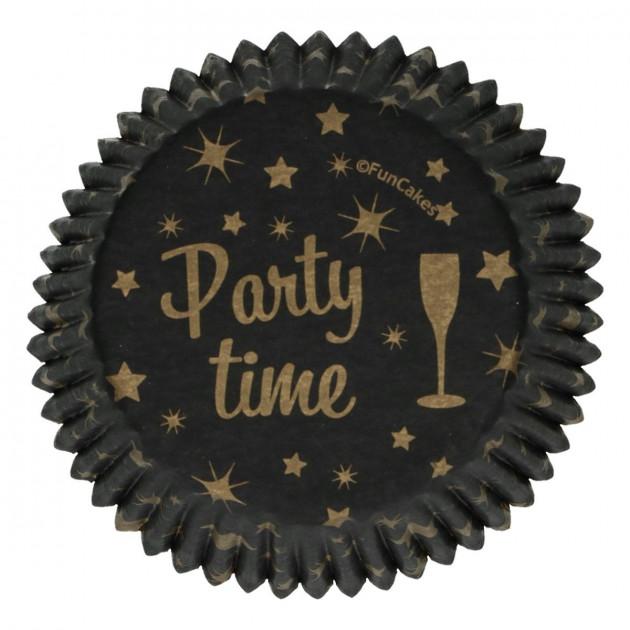 Caissette à Cupcake Noir et Or Party Time Ø 5 cm (x48) Funcakes