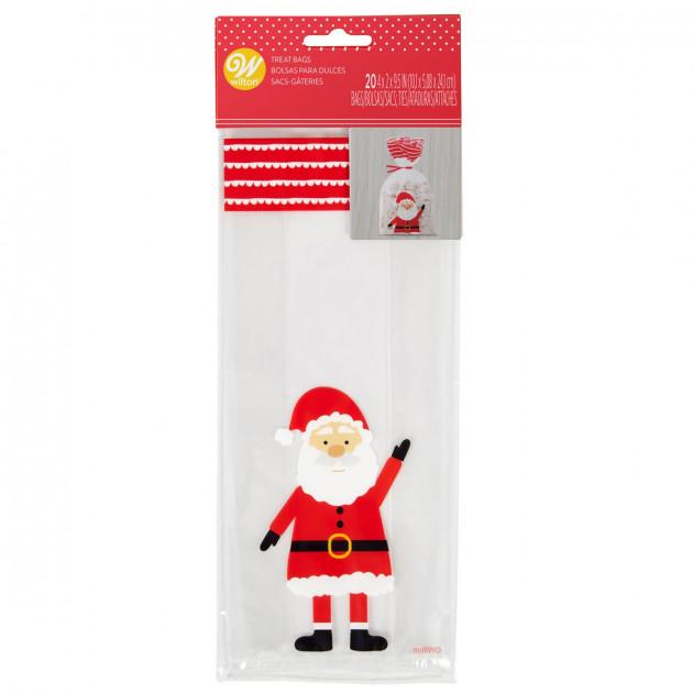 Sachet Bonbon Père Noël 10 x 5 cm x H 24 cm (x20) Wilton