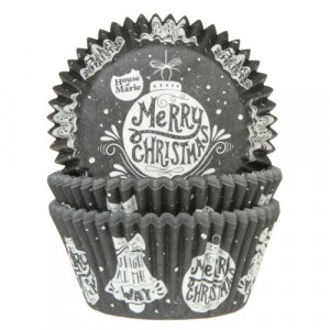 Caissette Cupcake Merry Christmas Black&White House of Marie (x50)