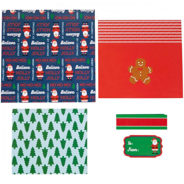 Boîte carton cadeau de Noël avec lien en carton et étiquette