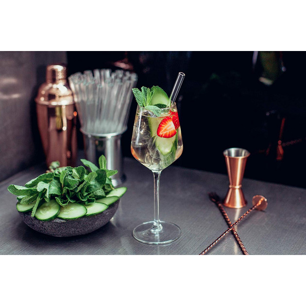 Pailles en verre réutilisables de 15cm pour cocktails