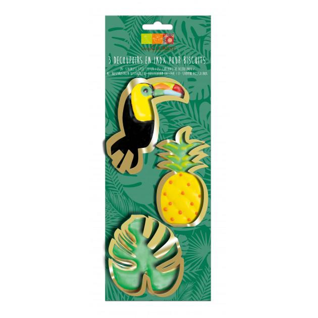 Emporte-Pièces Toucan, Ananas, Feuille Tropicale Inox x3 Scrapcooking