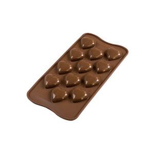 Moule à Chocolat 12 Cœurs Bombés Easy Choc - Silicone Spécial Chocolat