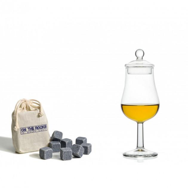 Coffret 1 verre a Whisky 13 cl et 8 Glaçons Granit Bleu