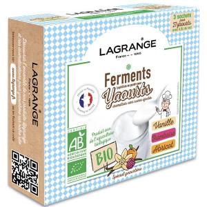 Ferment Lactique Bio 3 Sachets 12g Vanille, Framboise et Abricot Lagrange