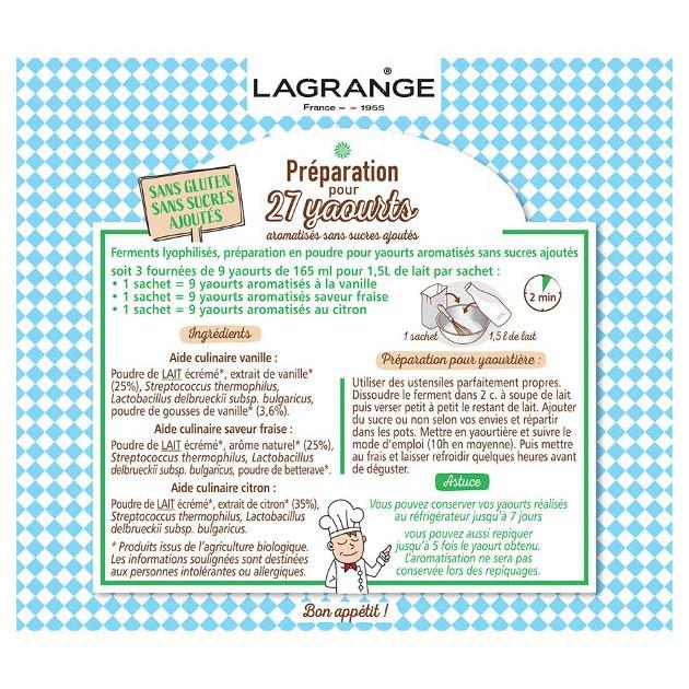 Ferment yaourt bio Vanille Fraise Citron