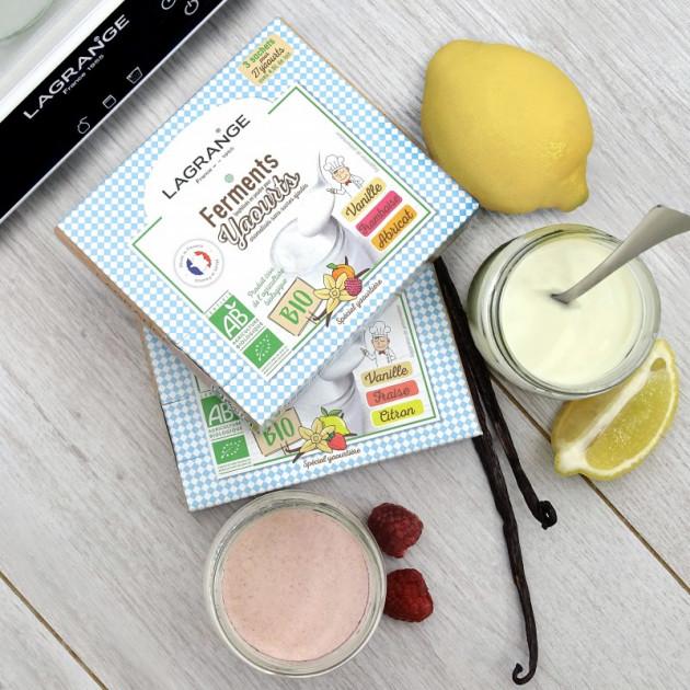 Ferment lactique yaourt pour yaourts maison à la vanille, à la frais ou au citron