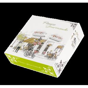 Boîte pâtissière Pause Gourmande - 18 x H 5 cm - (x50)