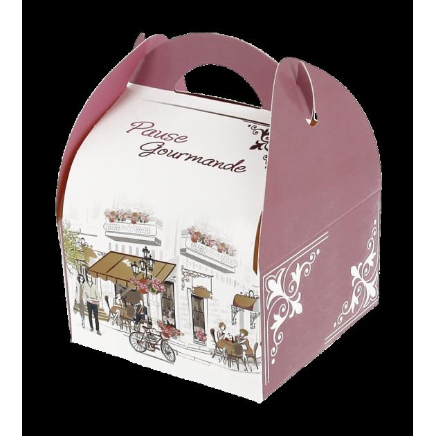 Boîte pâtissière avec poignées Pause Gourmande 17 x 10 cm x H 6 cm (x50)