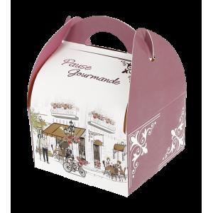 Boîte pâtissière avec poignées Pause Gourmande 17 x 15 cm x H 5,5 cm (x50)