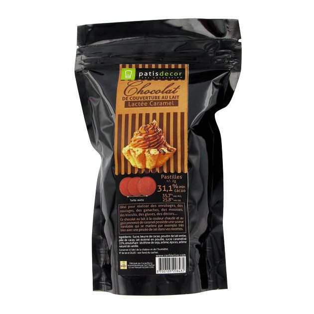 Chocolat au Lait Arome Caramel 250 g Patisdecor