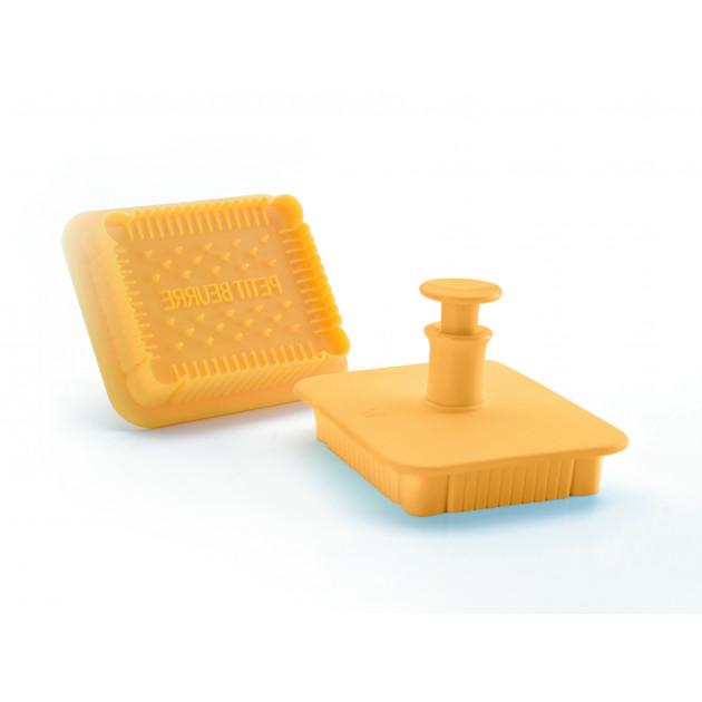 Emporte-Pièce Plastique Petit Beurre 7 x 5,5 cm avec Poussoir Ibili