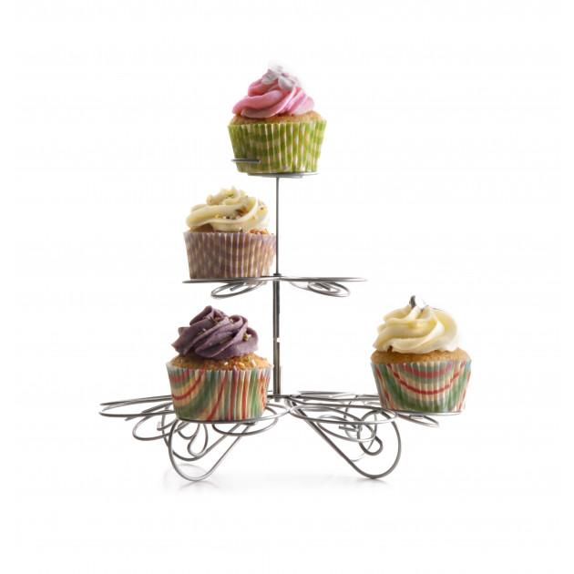 FIN DE SERIE Présentoir à Cupcakes Métallique Ø 18 cm x H 24 cm Ibili