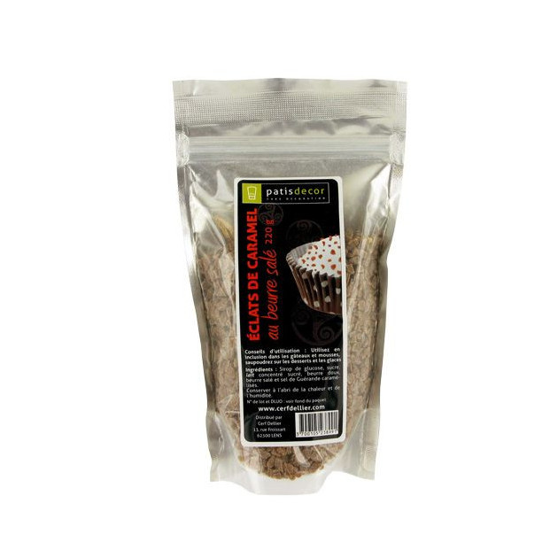 eclats de Caramel au Beurre Sale 220 g Patisdecor