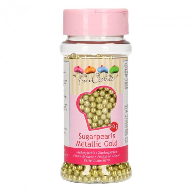 Perles de Sucre Or Metallique 80 g Funcakes