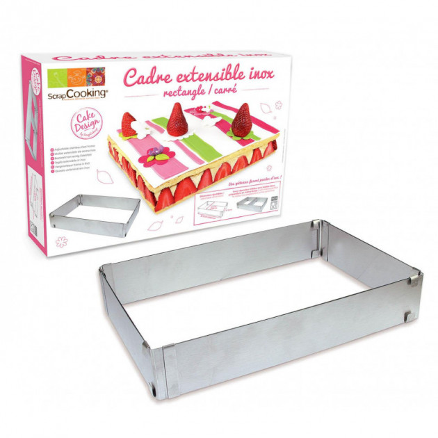 Cadre a Patisserie Extensible Inox Rectangle Scrapcooking