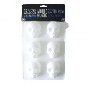 Moule Silicone Halloween 6 Crânes 3D 7 cm Patisdécor