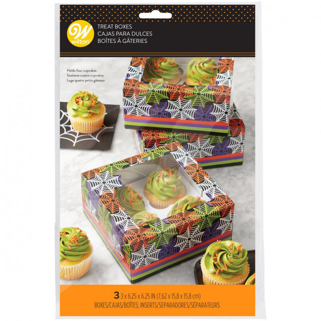 Boîte Cupcake Toiles d'Araignées 15,8 x H 7,6 cm (x3) Wilton