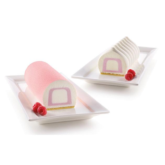 Moule Silicone Insert Bûche et Cake 22 x 5 x H 4 cm (x2) Silikomart 3D Design
